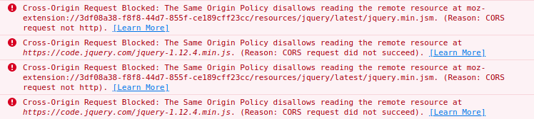 SOP error in browser console